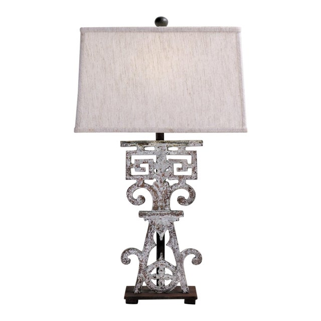Table Lamp Made From 20th Century British Colonial Iron With Shade For Sale