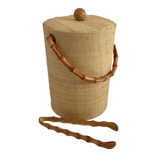 Vintage Grasscloth Ice Bucket With Faux Bamboo Tongs - A Pair - Image 1 of 7