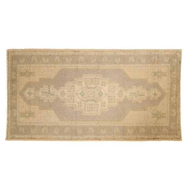 "Vintage Distressed Oushak Rug Mat Runner - 1'9"" X 3'4"" For Sale"