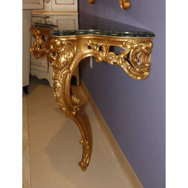 Giltwood French Louis XV Wall Mount Marble Top Giltwood Console Table For Sale - Image 7 of 12