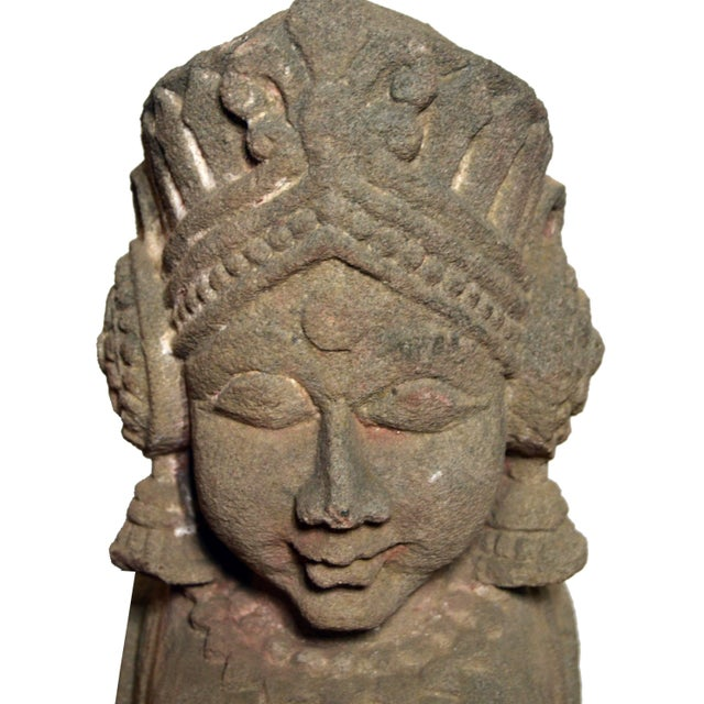 19th Century Hand-Carved Stone Sphinx With Tiara and Earrings Sculpture For Sale - Image 10 of 13