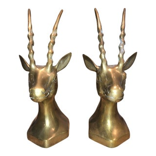Vintage Mid-Century Brass Antelope Bookends - A Pair For Sale