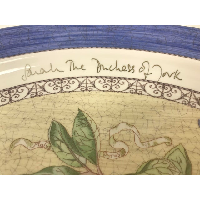 """1997 Wedgwood Platter """"Sarah's Garden"""" from the Queen's Ware collection, signed in 2000 by the Duchess of York."""