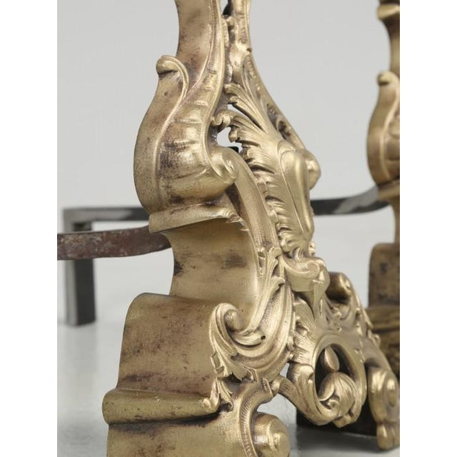 Antique French Rococo Solid Bronze Andirons - a Pair For Sale - Image 9 of 13