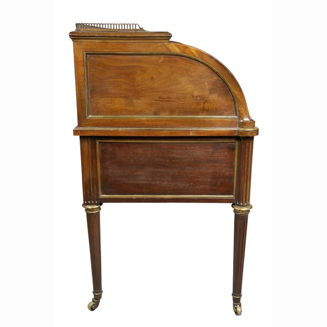 Directoire Style Mahogany and Brass Mounted Cylinder Desk For Sale - Image 10 of 13