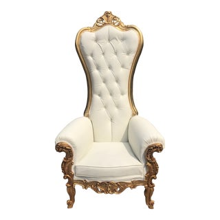 Italian Baroque Style White Tufted Side Chair