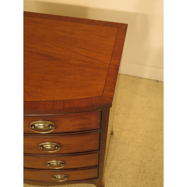 Ethan Allen Vintage Ethan Allen Federal Style Bow Front Mahogany Low Chest For Sale - Image 4 of 13