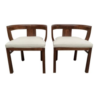 Art Deco Mid-Century Faux Shagreen Chairs Style of Carl Bergsten - a Pair For Sale