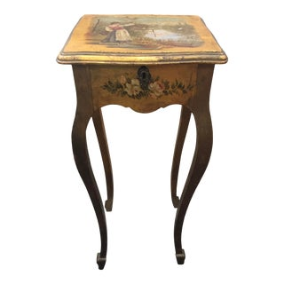 Handpainted French Side Table Shabby Chic For Sale