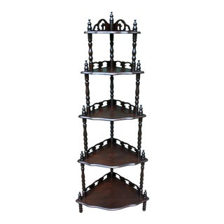 1890s Antique Mutual Furniture Co Victorian Mahogany Waterfall Design Corner Shelf For Sale