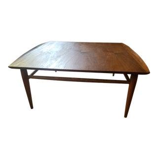 Bassett Mid-Century Walnut Square Coffee Table For Sale