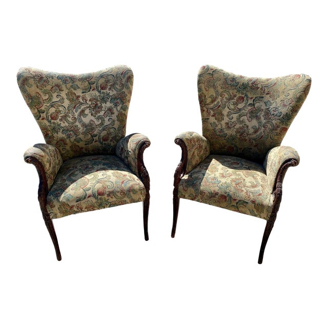 Hollywood Regency Wingback Grosfeld Lounge Arm Chairs For Sale