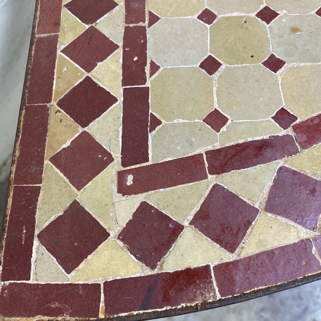 1970s Terra-Cotta Mosaic Tile and Iron Console For Sale - Image 5 of 11