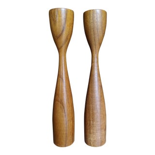 Sculptural Teak Candle Holders in the Style of Illums Bolinghus, a Pair For Sale