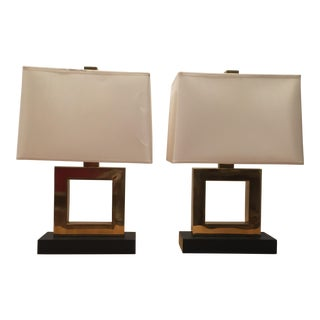 Robert Abbey Short Doughnut Collection Antique Brass Table Lamps - A Pair