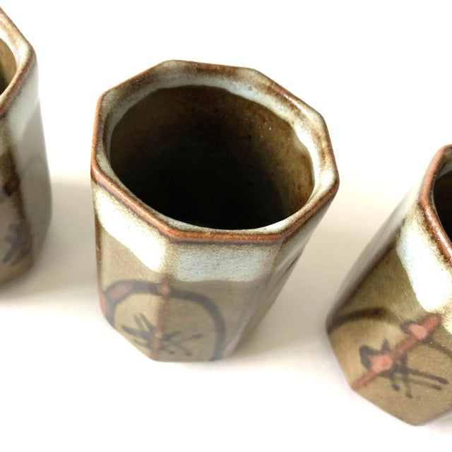 Stoneware Sake Cups, set of 4 For Sale - Image 5 of 6