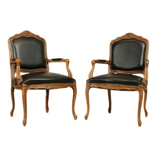 Chateau D'ax French Louis XV Style Black Leather Pair Armchairs For Sale