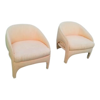 1980's Shell Pink Raw Silk Vladimir Kagan Chairs For Sale