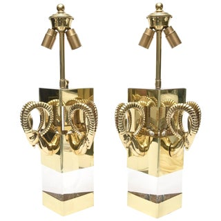 1970s Lucite and Polished Brass Ram's Head Wall Sconces a Pair Final Markdown For Sale