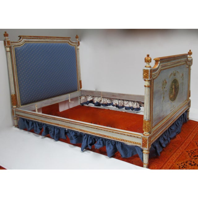Mid 19th Century Vintage 19th. Century French Napoleonic Parcel Gilt Painted Full Size Bedframe For Sale - Image 5 of 13