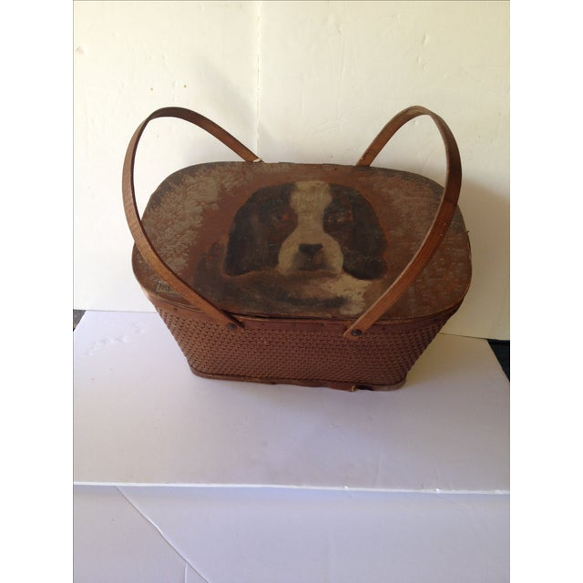 This is so unique, a hand painted picnic basket with a cute St Bernard on the lid. Vintage basket was storage for treats...