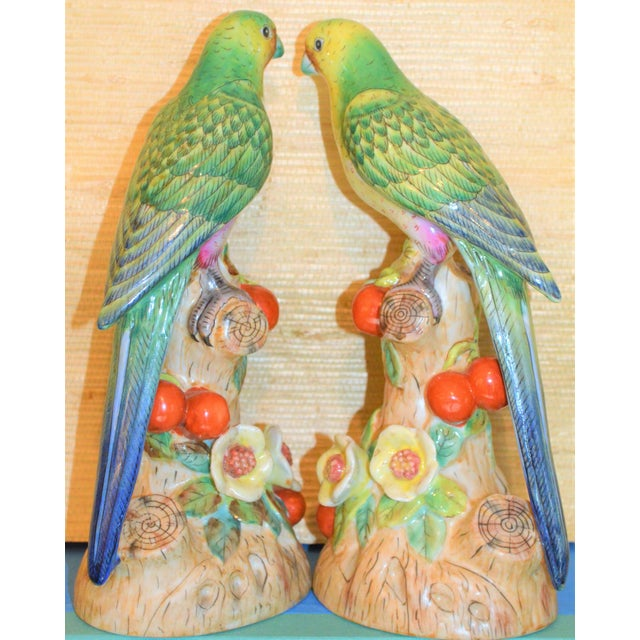 This is a beautiful set of green and yellow majolica parrots in a Chinese Import style detail. They have green and blue...