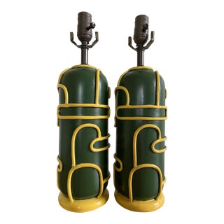 Late 1940s Pottery Ceramic Lamps by Ugo Zaccagnini - a Pair For Sale