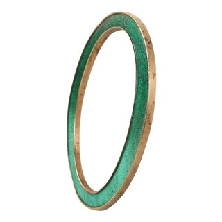 """Antique English Letter """"O"""" Made of Solid Cast Copper With an Enamel Inlay"""