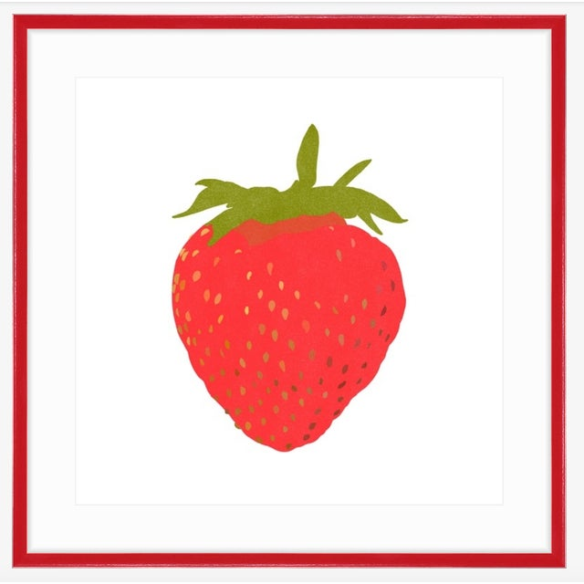 """Minimalism Portrait of a Strawberry Graphic Fine Art Print - 20"""" X 20"""" For Sale - Image 3 of 5"""