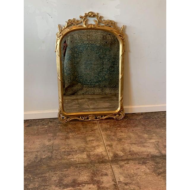 French Vintage Gold Leaf Mirror For Sale - Image 3 of 3