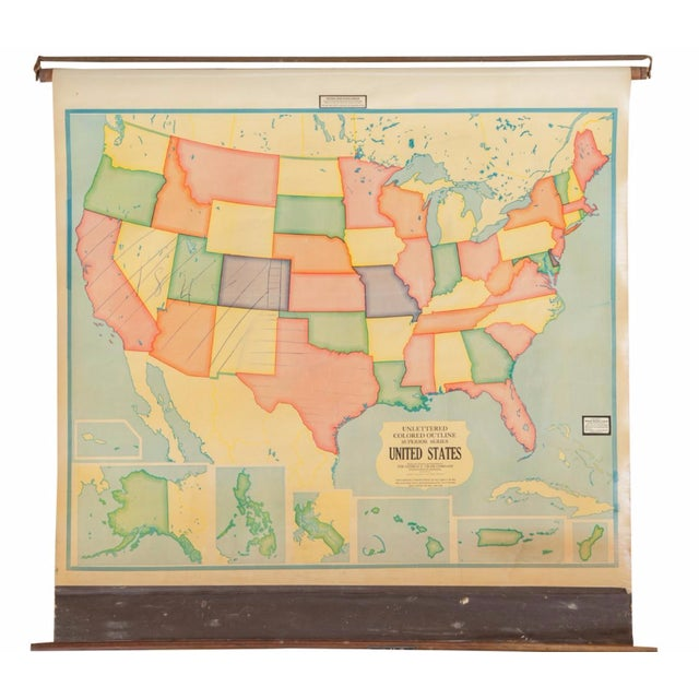 Vintage 1930s Crams Pull Down Map For Sale