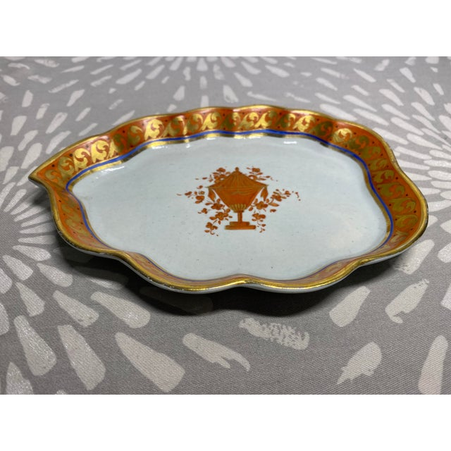 Antique handcrafted & hand-painted ceramic pottery dish. Excellent piece to use a catchall or bon-bon dish. Minor wear...