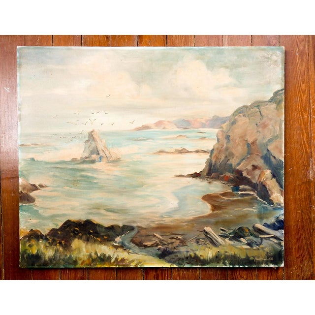 Rustic European Seascape Rocky Coastline Painting For Sale - Image 3 of 4