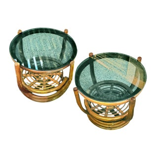 Vintage Palm Springs Regency Bamboo Glass Top Rattan Side Coffee Tables - a Pair For Sale