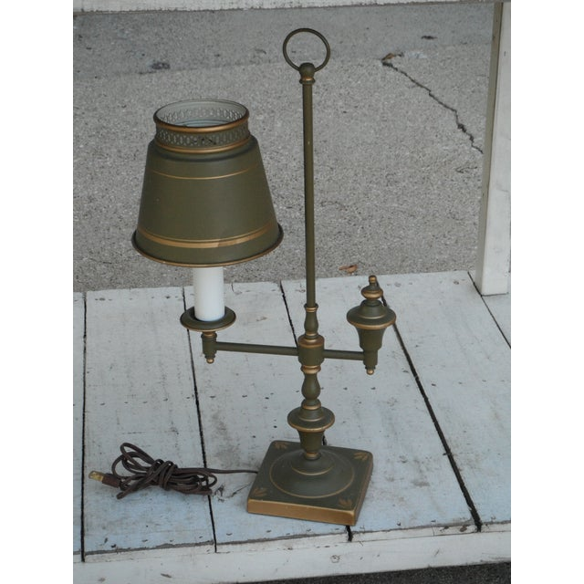 Vintage Sage Green Tole Desk Lamp For Sale In Chicago - Image 6 of 8