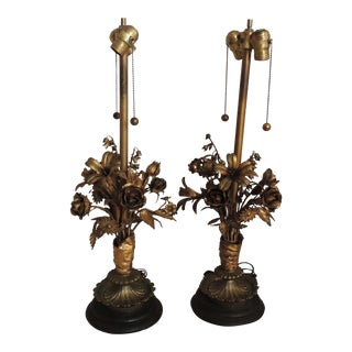 Mid Century Italian Tole Florentine Lamps With Flowers - a Pair For Sale