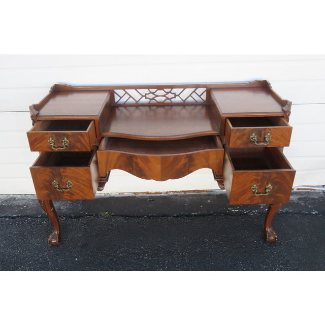 Chippendale Ball and Claw Feet Flame Mahogany Vanity Table and Mirror For Sale - Image 11 of 13