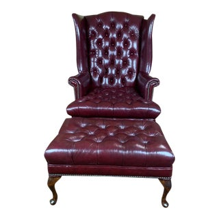 Vintage Mid-Century English Oxblood Leather Chesterfield Wingback Chair & Footstool For Sale