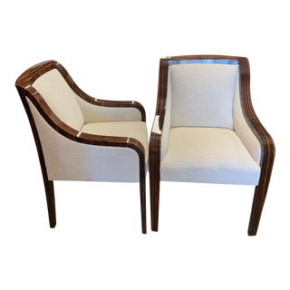 J Robert Scott Style Zebra Wood Lounge Chairs - a Pair For Sale