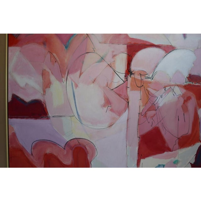 Abstract Huge Wesley Johnson Abstract Oil Painting in Variation of Pink For Sale - Image 3 of 9