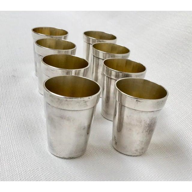 Art Deco Vintage Sterling Sake Cups - Set of 8 For Sale - Image 3 of 9