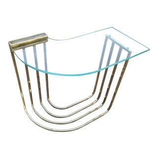 1970s Vintage Modern Brass & Glass Side Table