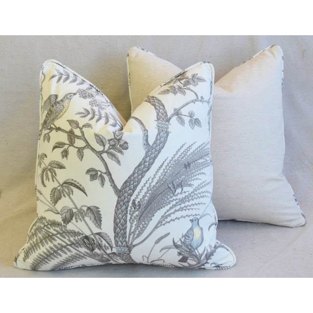 """Brunschwig & Fils Bird and Thistle Feather/Down Pillows 21"""" Square - Pair For Sale - Image 12 of 13"""