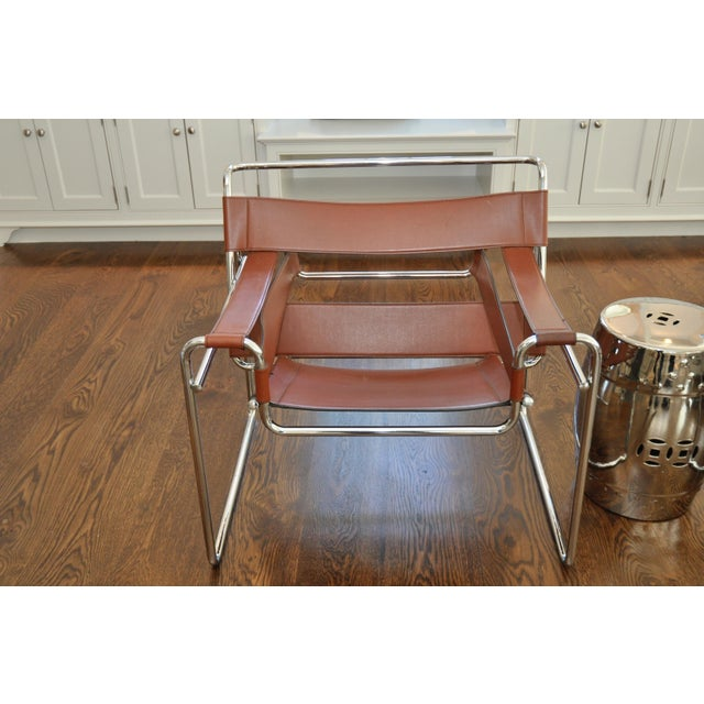Reproduction Mid-Century Wassily Leather & Chrome Chairs - Pair - Image 9 of 9
