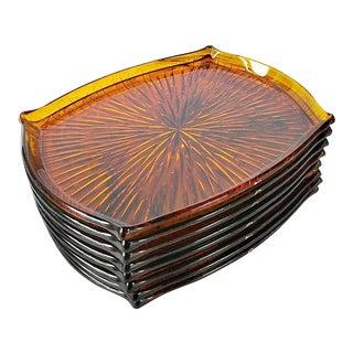 Lucite Tortoiseshell Hors d'Oeuvre Trays - Set of 8 For Sale