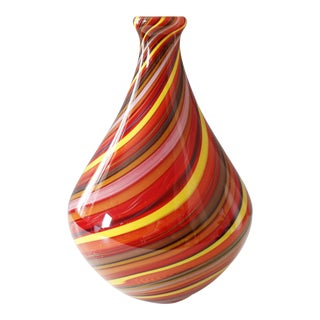 Murano Swirled Glass Vase Cased Glass Red Yellow Mid Century