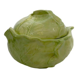 1960's Holland Ceramic Majolica Lettuce Serving Bowl With Lid For Sale