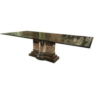 Dining Table With Stainless Steel Column Base by Brueton For Sale