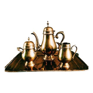 1980s Hollywood Regency Brass Tea Serving Set - 4 Pieces For Sale