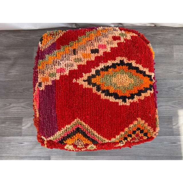 1980s Vintage Moroccan Pouf Cover For Sale - Image 4 of 10